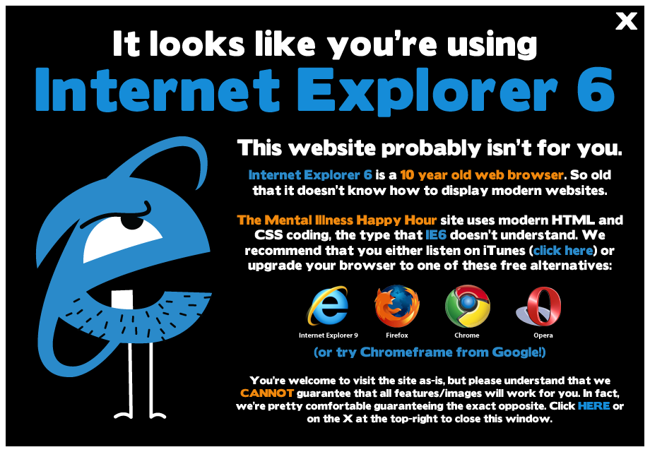 Looks Like You're Using IE6! This site won't display properly for you.Sorry.